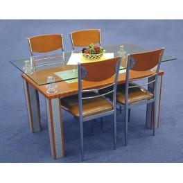 Stůl F62 chrom/sklo/MDF olše