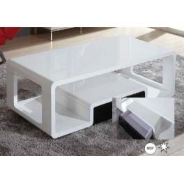 Konferenční stůl SPECIAL  bílá lesk/černá zásuvka