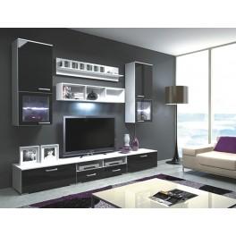 Obývací stěna FRANCO bílá / černá