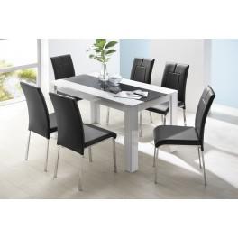 Jídelní stůl BEATLE 140x80 cm bílá vysoký lesk/černé sklo