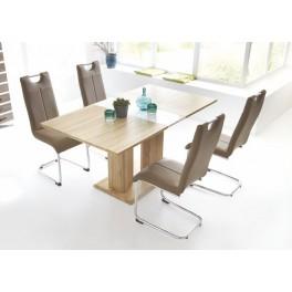 Stůl NICOLE  dub sonoma/bílá vysoká lesk