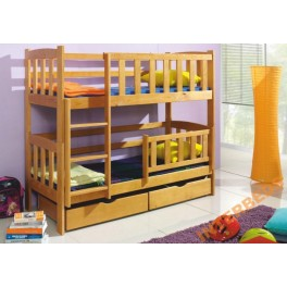 Patrová postel DEFI s matrací  borovice