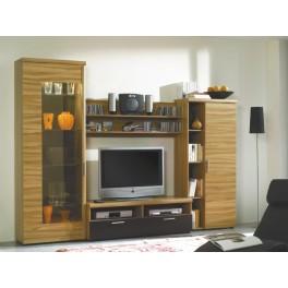 Obývací stěna TICKO buk/černá vysoký lesk