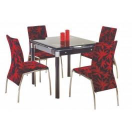 Jídelní stůl KENT sklo černé malované / chrom