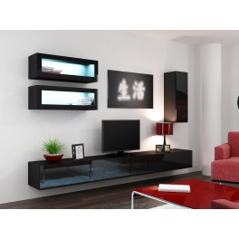 Obývací stěna VIGO 11 Bílá lesk / černá
